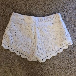 Cream crochet shorts. NOT see though!